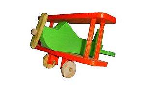 Avião de madeira colorido