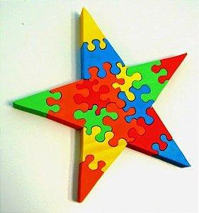 Quebra-Cabeça 3D linha arco-iris- Estrela