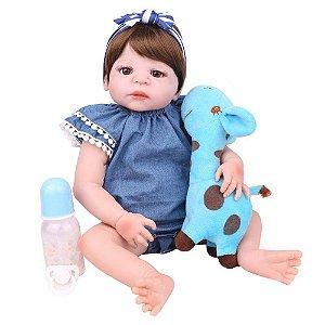 Boneca Bebe Reborn Laura Baby Andressa 55 cm corpo silicone pode tomar banho