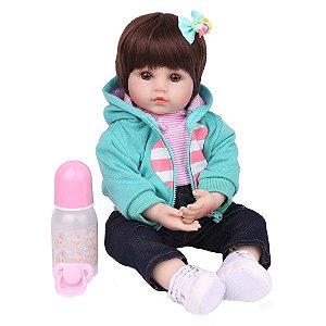 Boneca Bebe Reborn Laura Baby Brenda 45 cm corpo algodão