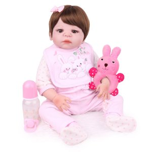 Boneca Bebe Reborn Laura Baby Daniela 55 cm corpo silicone pode dar banho
