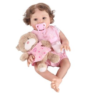 Boneca Bebe Reborn Laura Baby Larissa 45 cm corpo silicone pode dar banho