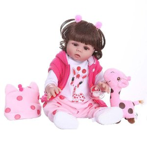 Boneca Bebe Reborn Laura Baby Michelle 45 cm corpo silicone pode dar banho