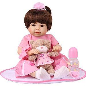 Boneca Bebe Reborn Laura Baby Vivi 55 cm corpo silicone pode dar banho