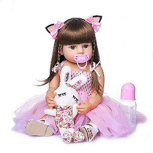 Boneca Bebe Reborn Laura Baby Adrianne 48 cm corpo de silicone