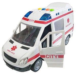 Carrinho Ambulância com luz e som e abertura de portas