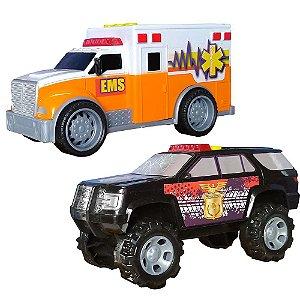 Carrinhos Resgate Fast e Polícia Star 1:20
