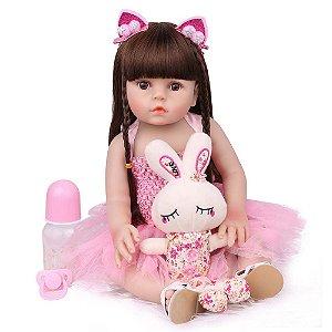 Boneca Bebe Reborn Laura Baby Gabriela 47 cm corpo silicone pode dar banho
