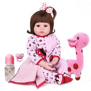 Boneca Bebe Reborn Laura Baby Bruna 47cm corpo silicone pode dar banho