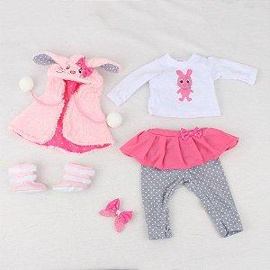 Roupa Para Boneca Bebê Reborn Com Casaco Coelho Rosa