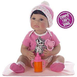 Boneca Bebe Reborn Laura Newborn Iolanda corpo silicone pode dar banho