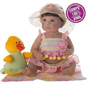 Boneca Bebe Reborn Laura Newborn Heloisa corpo silicone pode dar banho