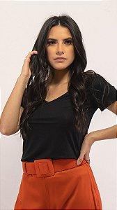 T-Shirt Feminina  Gola V  Modal - Preta