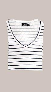 T-Shirt Feminina Conterre Listras - Off-white & Marinho