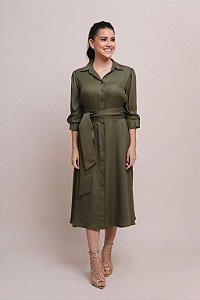 Vestido Chemise Íris Crepe - Verde Oliva