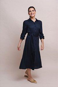 Vestido Chemise Crepe Íris - Azul Marinho