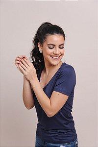 T-Shirt Feminina Gola V Modal - Azul Marinho