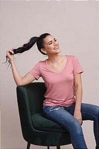 T-Shirt Feminina  Gola V - Rosa Blush