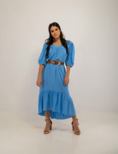 Vestido Midi Gabriela Viscose Azul