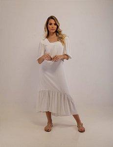 Vestido Midi Gabriela Viscose Off-White