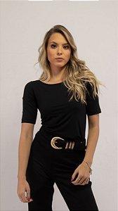 T-Shirt Feminina Gola Canoa Modal - Preta