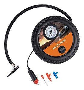 Compressor de Ar Roda Com Manometro Para Encher Pneu Do Veiculo 3 Bicos Adaptadores Multilaser