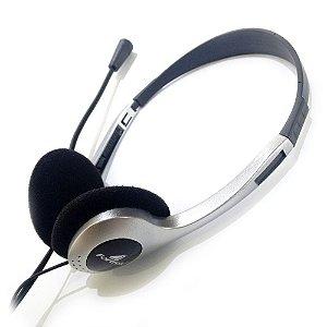 Fone de ouvido Multimídia Pra Pc E Notebook Profissional HBL-101 Prata/Preto FORTREK