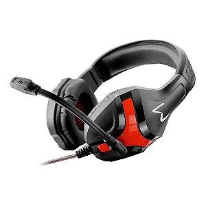 Fone de ouvido Headset Gamer Warrior Harve P2 Stereo Preto Vermelho Confortavel De Qualidade Pra Pc Computador