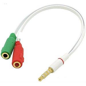 Cabo Adaptador De Audio P3 P2 para Usar Fone de Ouvido de 2 plugs no Celular Alta Qualidade Multiuso 18CM da XCELL XC-ADP-14