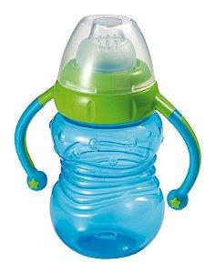 Copo Infantil de Treinamento com Tampa e Bico de Silicone Azul Learn com Alças para Segurar 6M+ Multikids Baby BB019