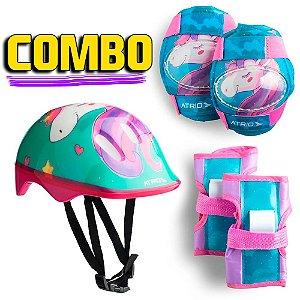 Kit De Proteção Para Criança Andar De Patins Skate Bike Rosa Infantil Unicornio Tamanho Único Atrio ES199 +3 anos