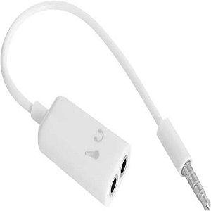 Cabo P3 adaptador para Microfone e Fone De Ouvido Headset  P2 3.5mm 4 Polos RONTEK Branco