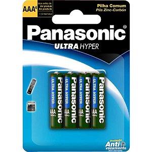 Pilha Panasonic AAA R03UAL Cartela Com 4 Unidades