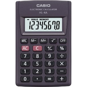 Calculadora de Bolso Preta Casio HL-4A 8 Dígitos