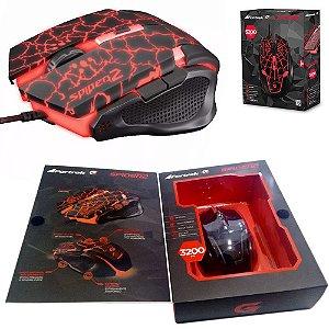 Mause Gamer Usb Com Led 3200DPI Preto Com Vermelho Spider 2 OM-705