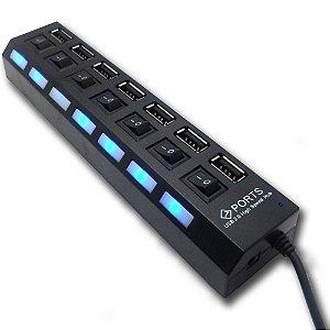 HUB 7 PORTAS REGUA USB 2.0 HI-SPEED Preto Potente Multiuso