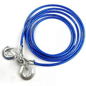 CABO DE REBOQUE 4M 8MM de aço Azul Com Gancho Bom Multiuso
