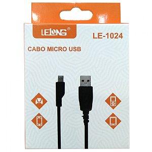 CABO USB X V8 1M LELONG Preto LE-1024 de Boa Qualidade Novo