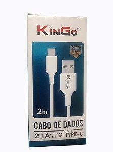 Cabo de Dados 2 Metros Linha Premium - KinGo Type C - Branco - 2 Metros
