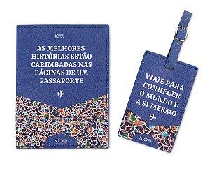 Kit Viagem Porta Passaporte e Tag Mala - Ladrilhos