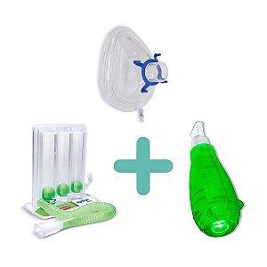 Kit Respiração 2 - Respiron Athletic 1 + Acapella Green + Mascara Coxim
