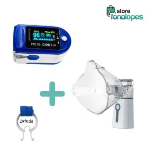 KIT Respiratório - 1 Nebulizador + 1 Oxímetro 1 Capnasal (Brinde)