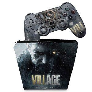 KIT Capa Case e Skin PS4 Controle - Resident Evil Village