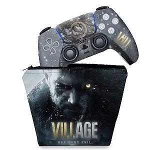 KIT Capa Case e Skin PS5 Controle - Resident Evil Village