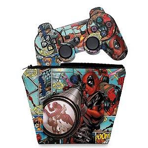 KIT Capa Case e Skin PS3 Controle - Deadpool