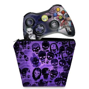 KIT Capa Case e Skin Xbox 360 Controle - Esquadrão Suicida #b