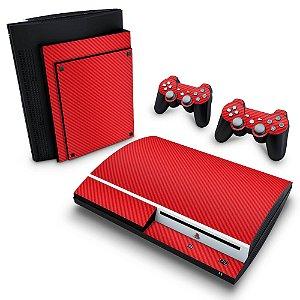 PS3 Fat Skin - Fibra de Carbono Vermelho