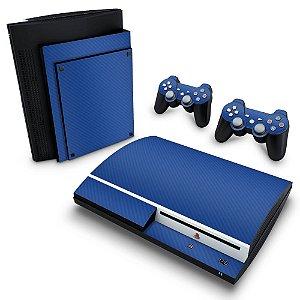PS3 Fat Skin - Fibra de Carbono Azul