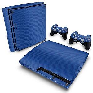 PS3 Slim Skin - Fibra de Carbono Azul