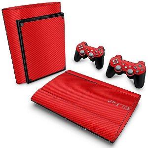 PS3 Super Slim Skin - Fibra de Carbono Vermelho